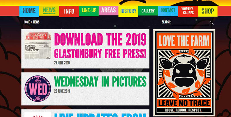 GLastonbury website