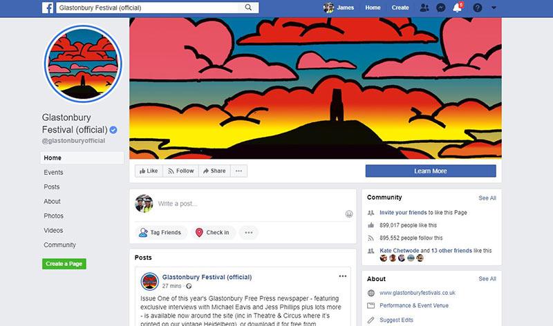Glasto Facebook page website