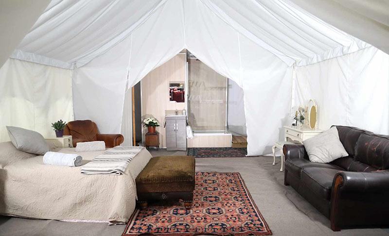 glastonbury glamping tent interior