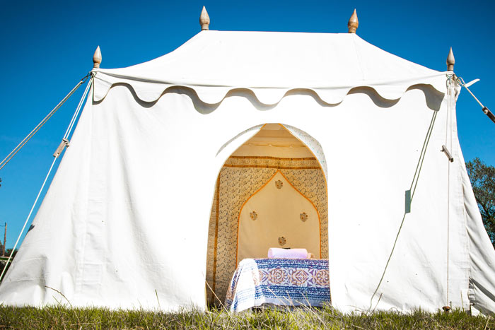 hire luxury bedi tent glamping